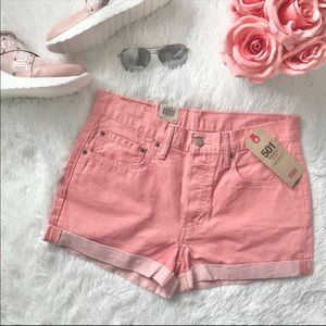 NWT Levi's 501 shorts pink denim